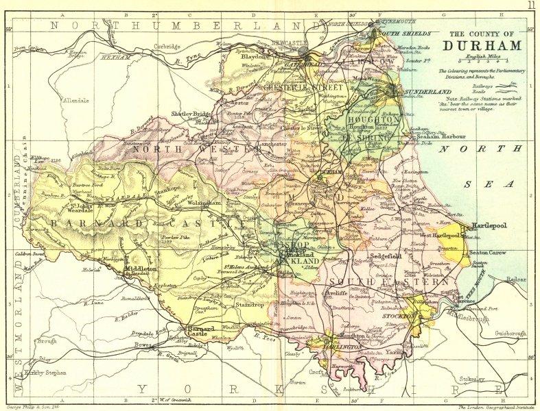 Associate Product DURHAM. Philip 1890 old antique vintage map plan chart