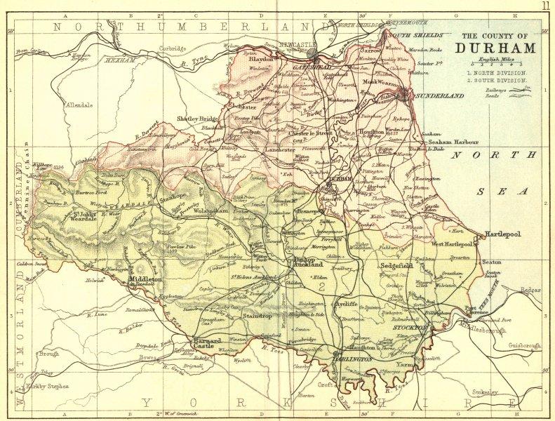 Associate Product DURHAM. Philip 1876 old antique vintage map plan chart
