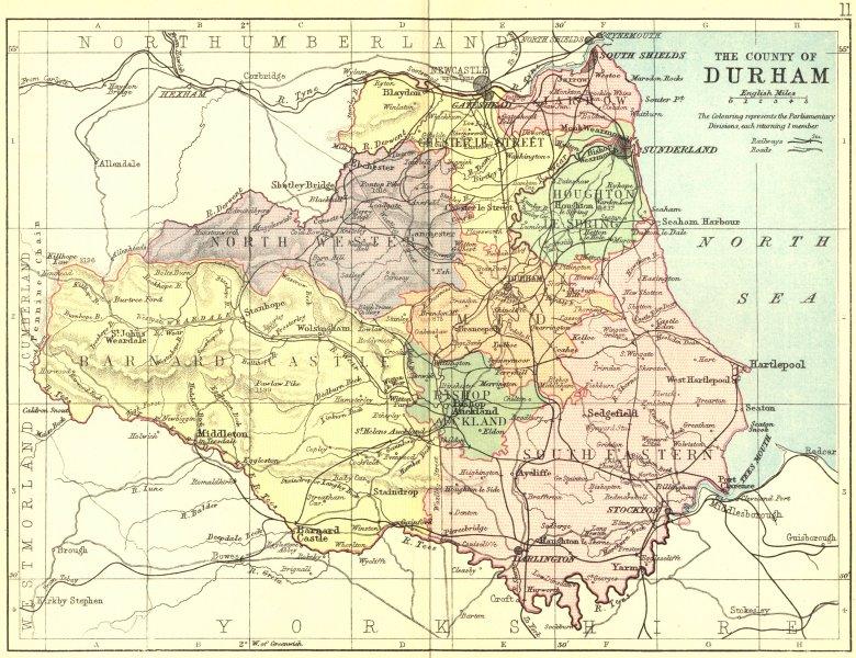 Associate Product DURHAM. Philip 1888 old antique vintage map plan chart