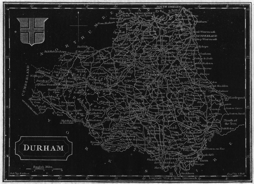 Associate Product DURHAM. Pinnock 1833 old antique vintage map plan chart