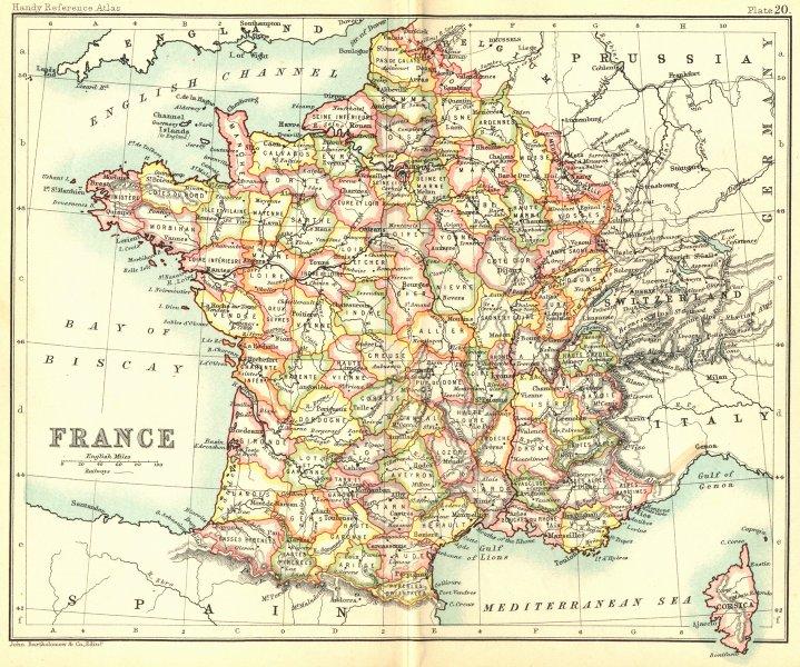 Associate Product FRANCE. Walker Bartholomew 1896 old antique vintage map plan chart