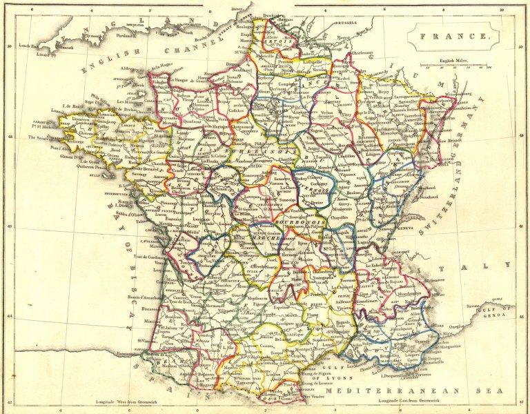Associate Product FRANCE. Becker 1848 old antique vintage map plan chart
