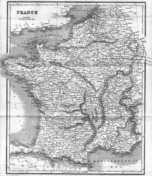 Associate Product FRANCE. BELL  1839 old antique vintage map plan chart