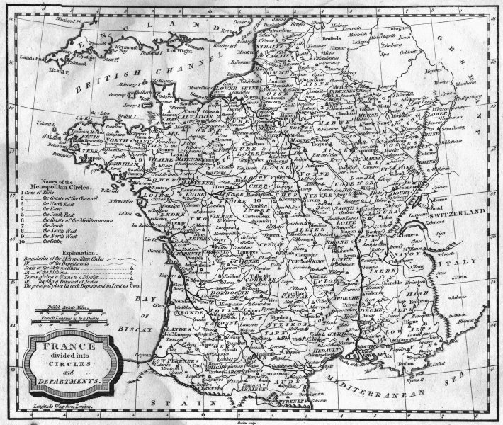 FRANCE. Circles & departments. Blomfield 1807 old antique map plan chart