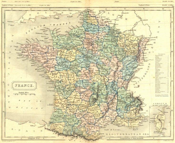 FRANCE. Butler Hall 1850 old antique vintage map plan chart