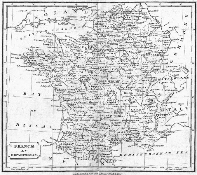 Associate Product FRANCE. Departments. Clark  1828 old antique vintage map plan chart