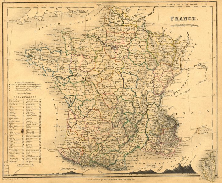 Associate Product FRANCE. Dower Orr Mountains 1840 old antique vintage map plan chart
