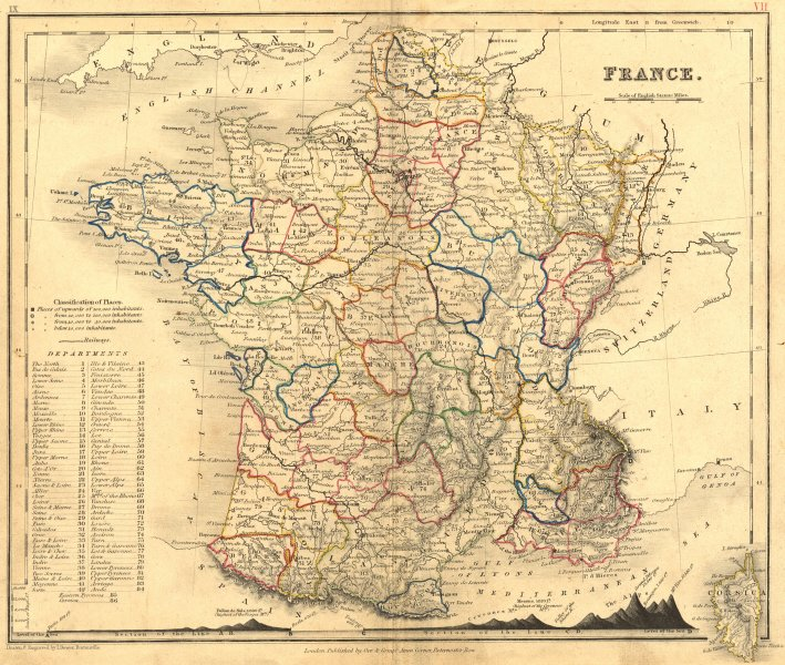 Associate Product FRANCE. Dower. Mountains 1850 old antique vintage map plan chart