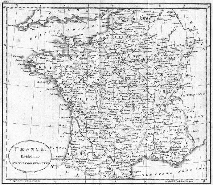 Associate Product FRANCE. Military Governments. Guthrie 1808 old antique vintage map plan chart