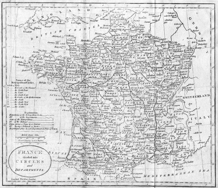 Associate Product FRANCE. Circles & departments. Guthrie 1801 old antique vintage map plan chart