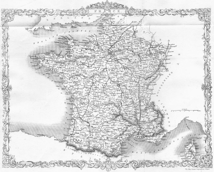 Associate Product FRANCE. Rapkin Wright 1860 old antique vintage map plan chart