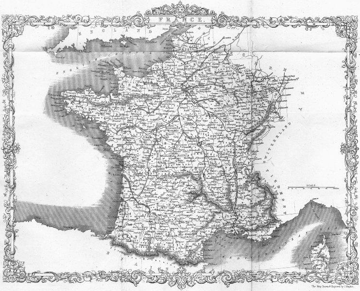 Associate Product FRANCE. Rapkin Slightly 1850 old antique vintage map plan chart