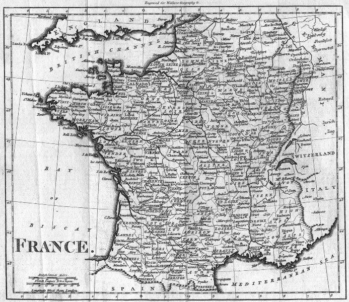 Associate Product FRANCE. Walker 1810 old antique vintage map plan chart