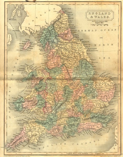Associate Product UK. England Wales. Sidney Hall 1851 old antique vintage map plan chart