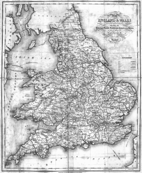 Associate Product ENGLAND WALES. Roads, rail, canals, rivers. Lewis 1831 old antique map chart