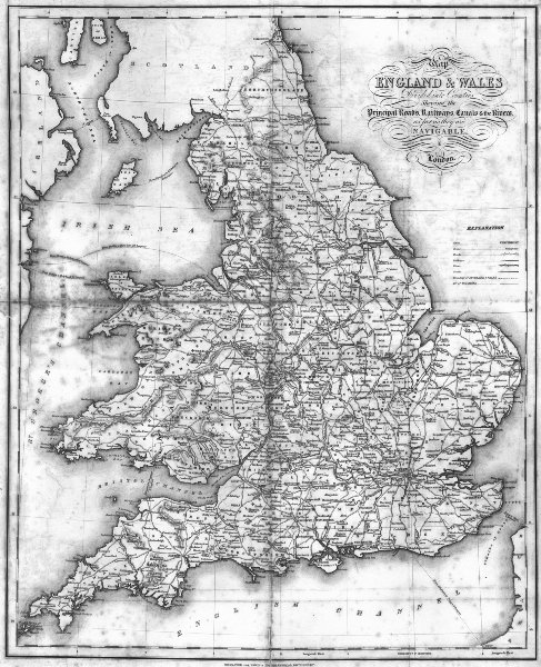 ENGLAND WALES. Roads, rail, canals, rivers. Lewis 1831 old antique map chart