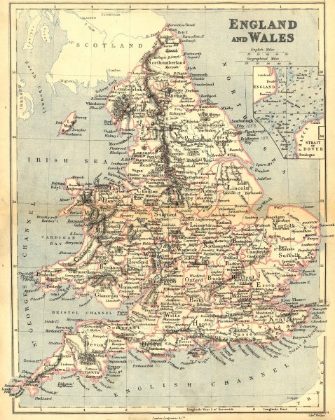 Associate Product ENGLAND WALES. Longman Weller Dover Straits 1882 old antique map plan chart