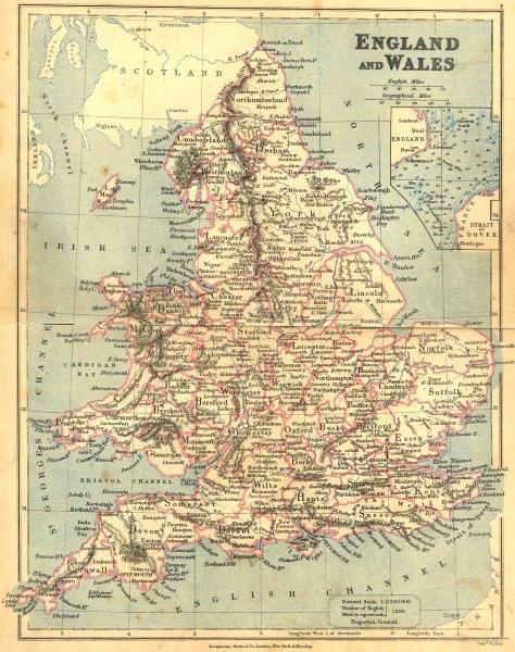 Associate Product UK. England Wales. LONGMANS 1897 old antique vintage map plan chart