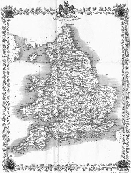 Associate Product UK. England Wales. Rapkin 1860 old antique vintage map plan chart