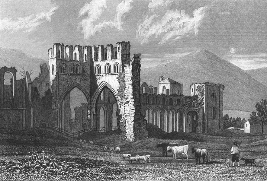 LLANTHONY ABBEY. Attractive view. Monmouthshire. Wales. DUGDALE c1840 print