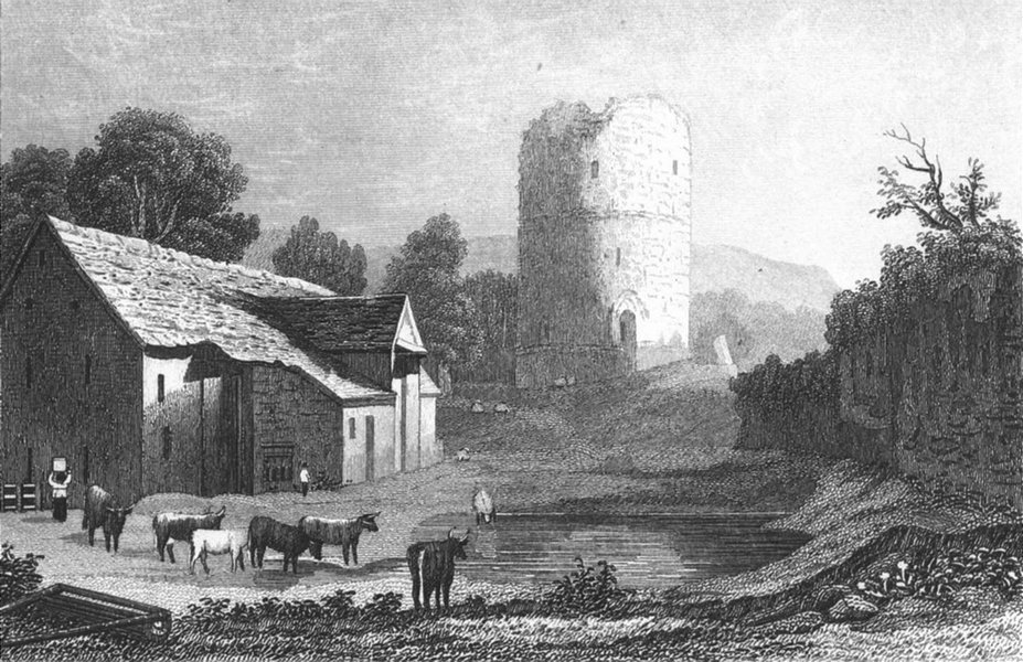 Associate Product TRETOWER. Attractuve view. Brecknockshire. Wales. DUGDALE 1835 old print