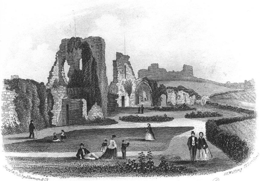 SUSSEX. Hastings Castle. Newman 1860 old antique vintage print picture