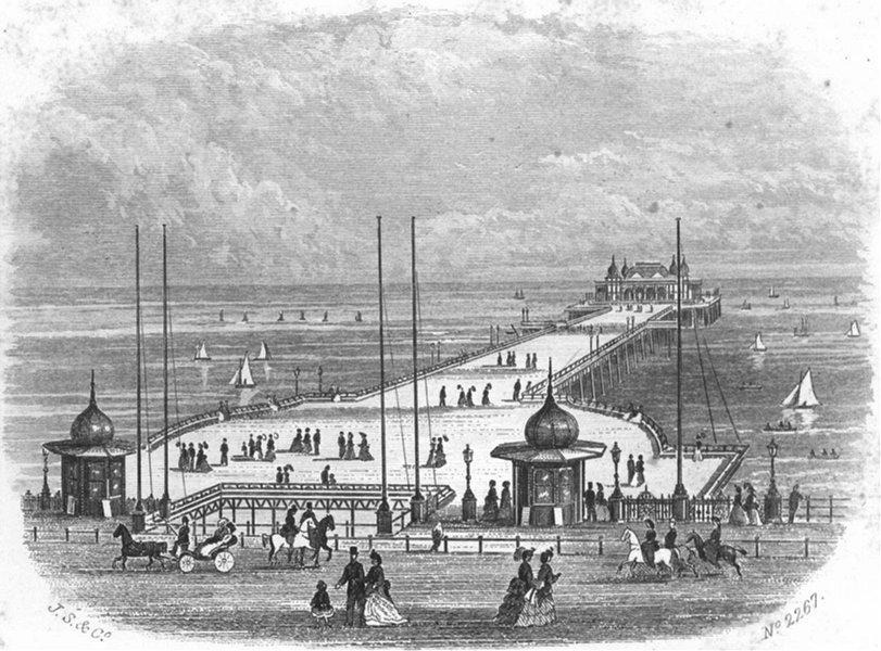 Associate Product SUSSEX. Hastings & St Leonards Pier. Kershaw 1860 old antique print picture