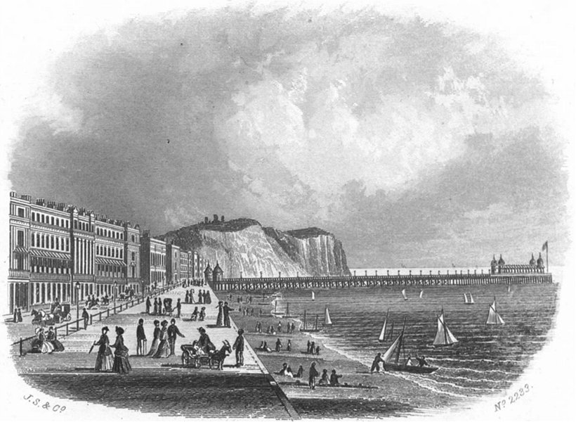 Associate Product SUSSEX. New pier, Hastings. Kershaw 1860 old antique vintage print picture