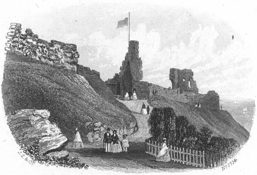 Associate Product HASTINGS. Castle built, reign of William Norman & 1860 old antique print