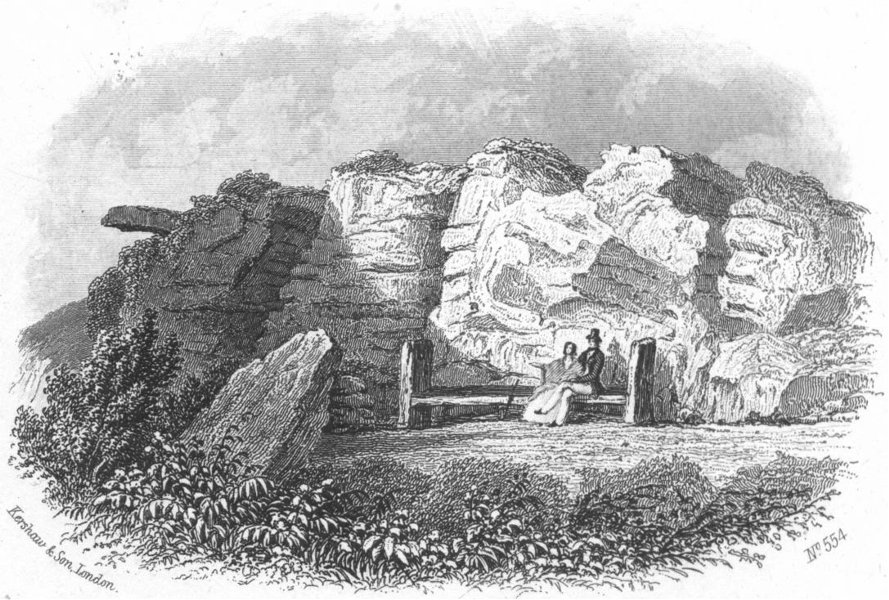 Associate Product SUSSEX. Lovers seat, Hastings. Kershaw 1860 old antique vintage print picture