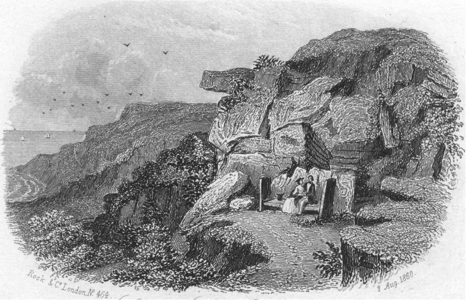 Associate Product SUSSEX. Lovers seat, Hastings. Rock 1860 old antique vintage print picture