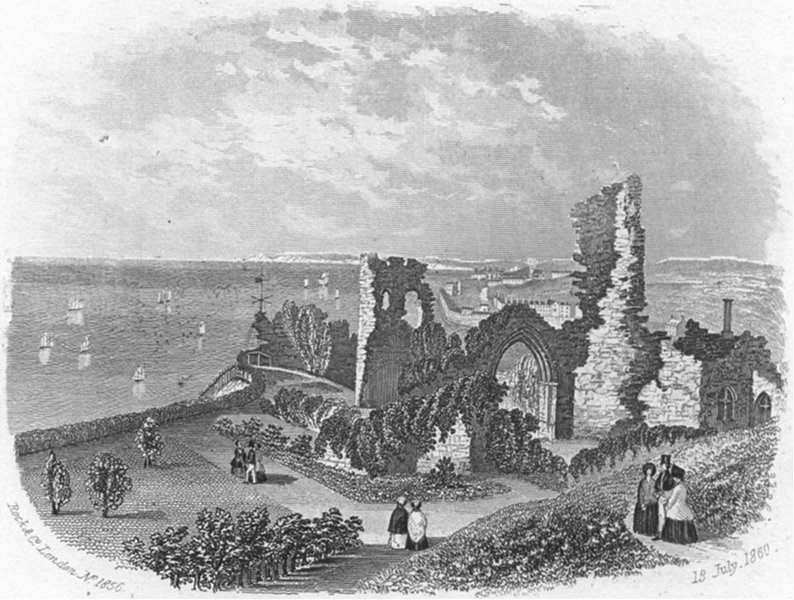 Associate Product SUSSEX. Castle, Hastings. Rock 1860 old antique vintage print picture