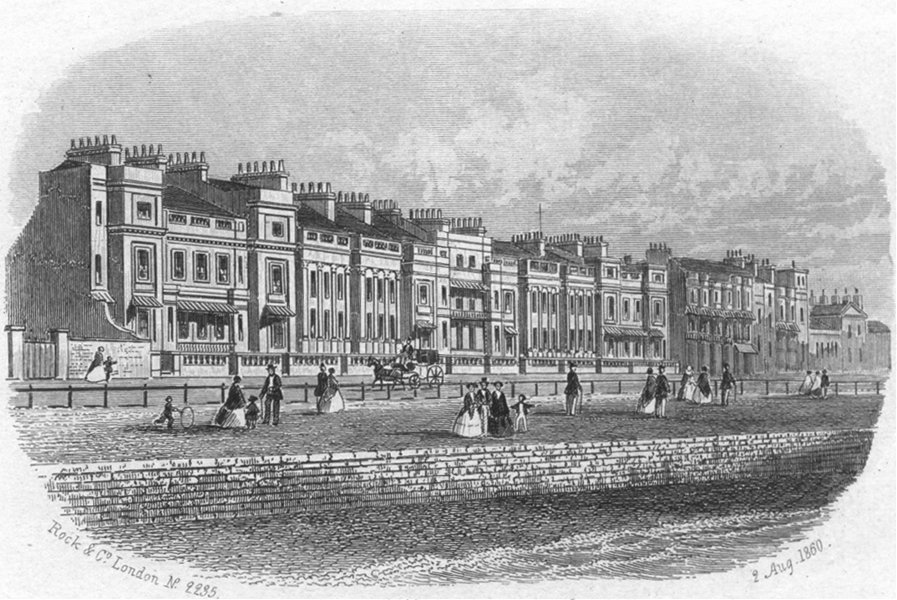 SUSSEX. White Rock place, Hastings 1860 old antique vintage print picture