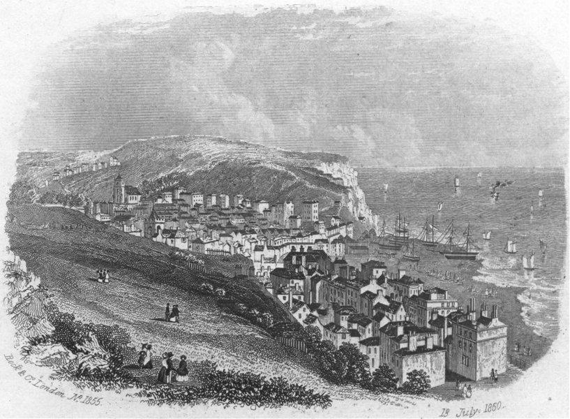 Associate Product SUSSEX. Hastings Castle. Rock 1860 old antique vintage print picture