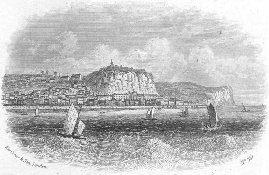 Associate Product SUSSEX. Hastings sea 1860 old antique vintage print picture