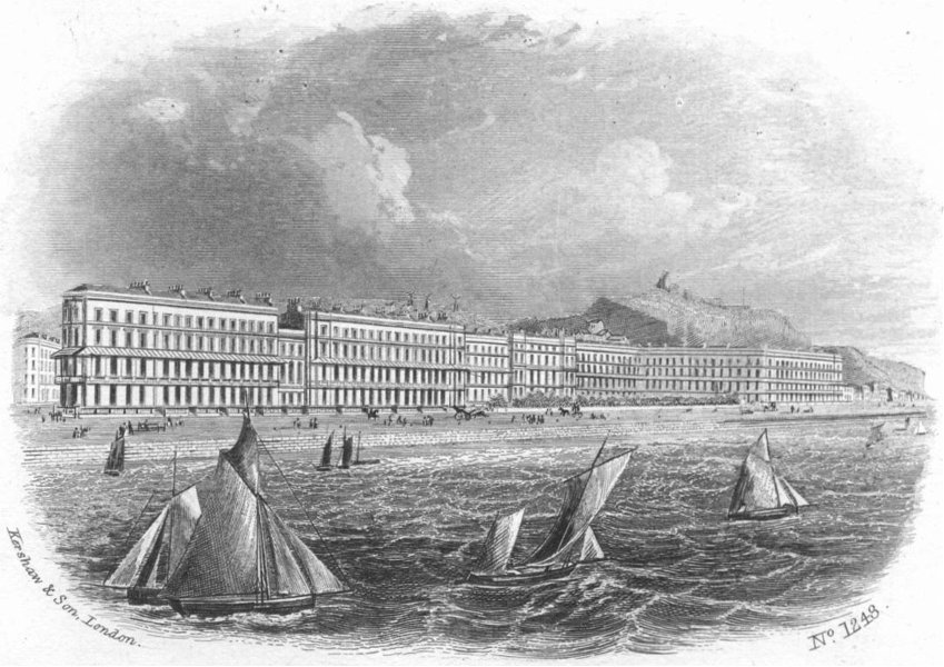 Associate Product SUSSEX. Carlisle Parade, Hastings sea 1860 old antique vintage print picture