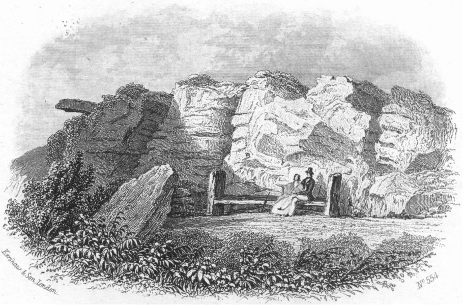 SUSSEX. Lovers seat, Hastings 1860 old antique vintage print picture