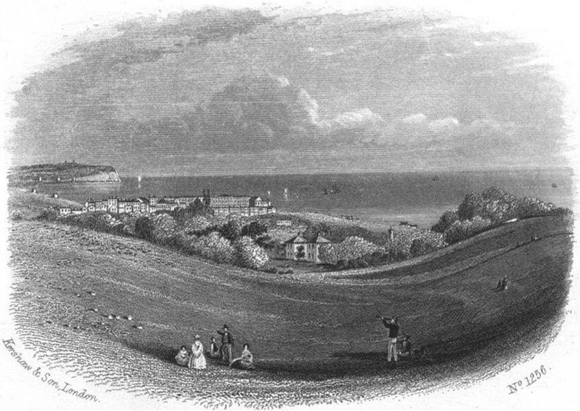 SUSSEX. Eastbourne, links. Rock 1860 old antique vintage print picture