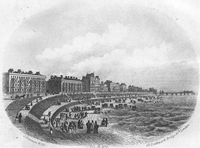 Associate Product SUSSEX. Beach, Eastbourne. Newman 1860 old antique vintage print picture