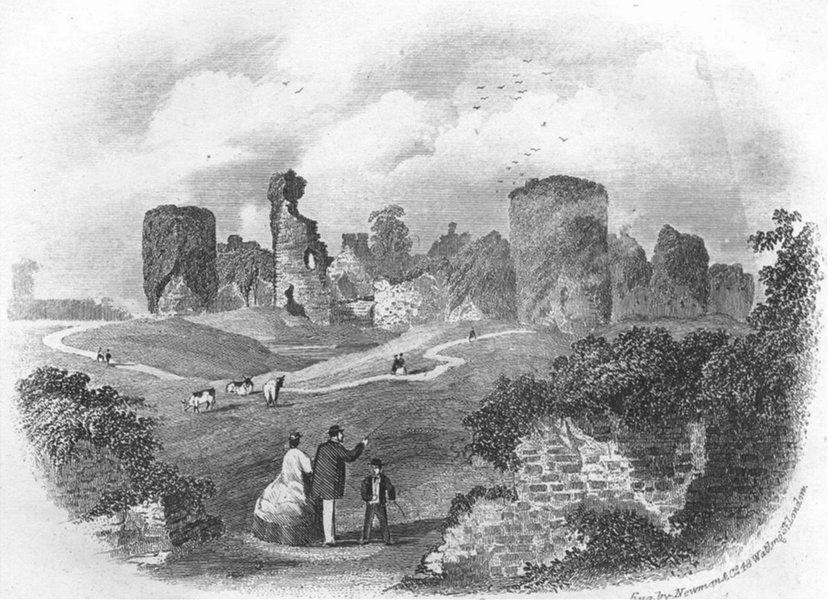Associate Product SUSSEX. Pevensey Castle. Eastbourne. Newman 1860 old antique print picture