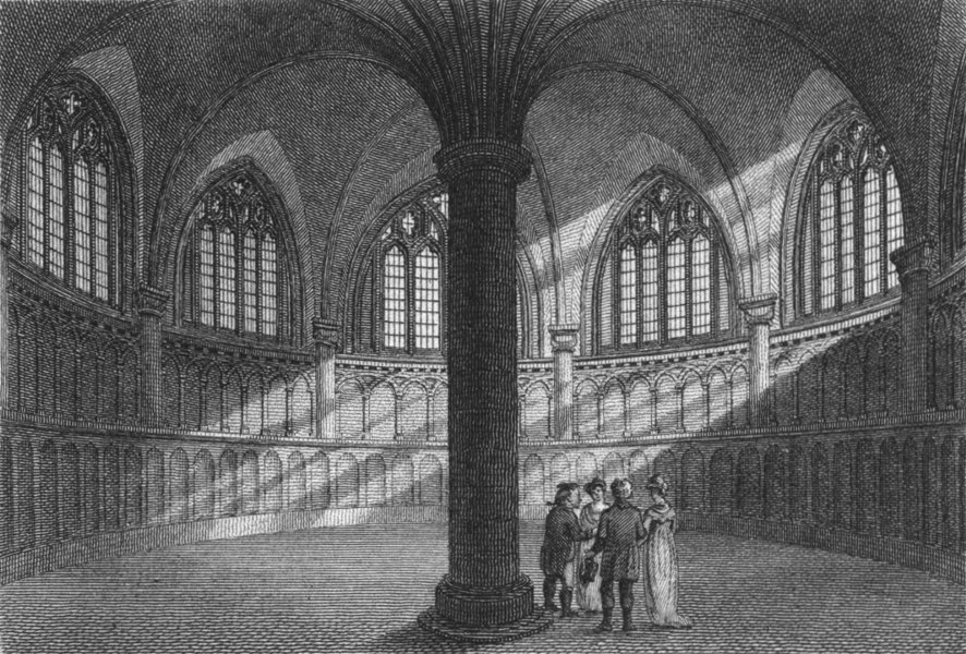 Associate Product WORCS. Chapter House, Worcester Cathedral 1807 old antique print picture
