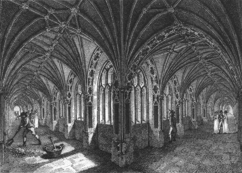 Associate Product WORCS. Cloisters of Worcester Cathedral 1807 old antique vintage print picture