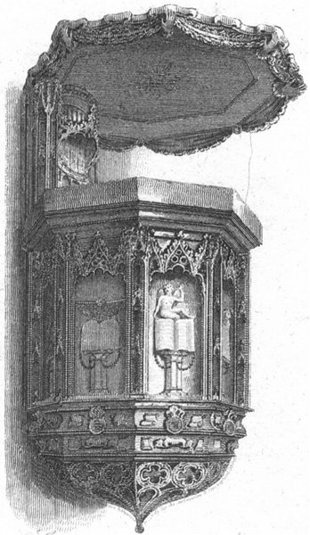 WORCS. Stone Pulpit, Worcester Cathedral 1807 old antique print picture