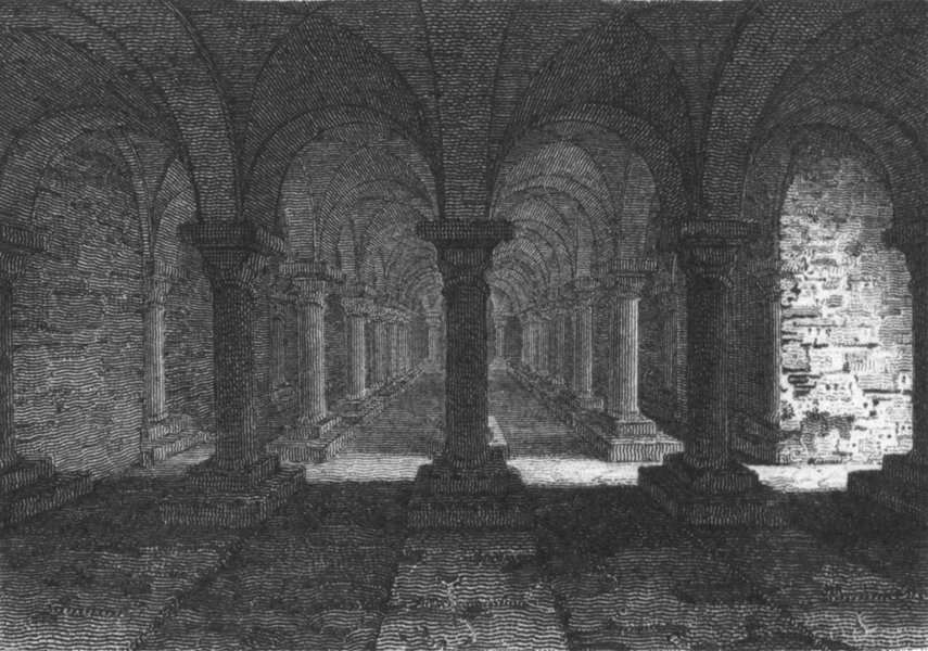 Associate Product WORCS. Crypt, Worcester Cathedral 1807 old antique vintage print picture