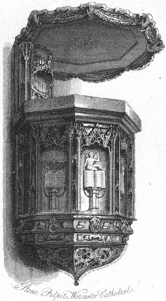 Associate Product WORCS. Stone Pulpit, Worcester Cathedral 1807 old antique print picture