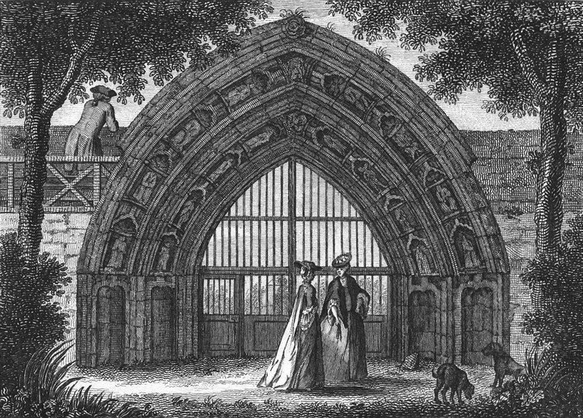 WORCS. Evesham Abbey, Worcestershire 1775 old antique vintage print picture