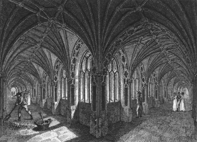 Associate Product WORCS. Cloisters, Worcester Cathedral c1812 old antique vintage print picture