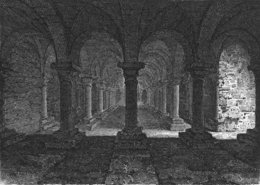 Associate Product WORCS. Crypt, Worcester Cathedral c1812 old antique vintage print picture