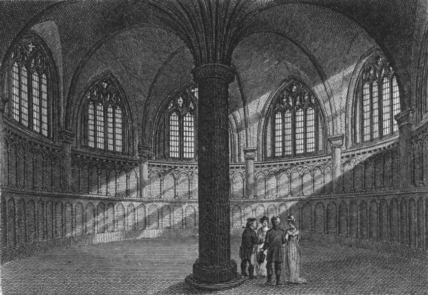 Associate Product WORCS. Chapter House, Worcester Cathedral c1807 old antique print picture