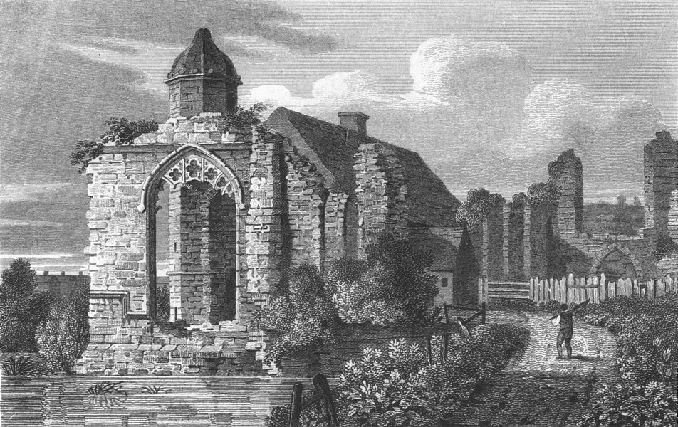 DUDLEY. Remains Priory Church, Worcestershire 1812 old antique print picture
